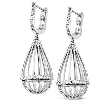 Diamond Teardrop Cage Earrings in 14k White Gold with 68 Diamonds weighing .51ct tw.