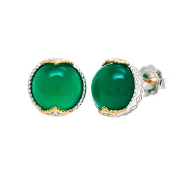 18kt and Sterling Silver Green Agate & Diamond Earrings