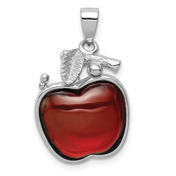 Sterling Silver Red CZ Cabochon Apple Pendant