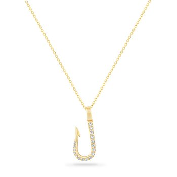 14K FISH HOOK NECKLACE WITH 17 DIAMONDS 0.14CT ON A 18 INCH CHAIN, HOOK LENGHT 21MM BY 8.8MM WIDTH