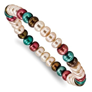 FW Cultured 6-7mm Pearl Peach/Brown/Teal/Burgundy Stretch Bracelet