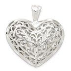 Quality Gold Sterling Silver Filigree Puffed Heart Pendant