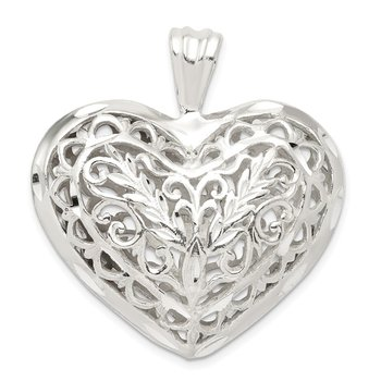 Sterling Silver Filigree Puffed Heart Pendant