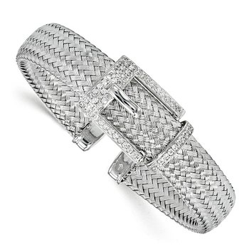 Leslie's Sterling Silver CZ Polished Woven Cuff Bangle