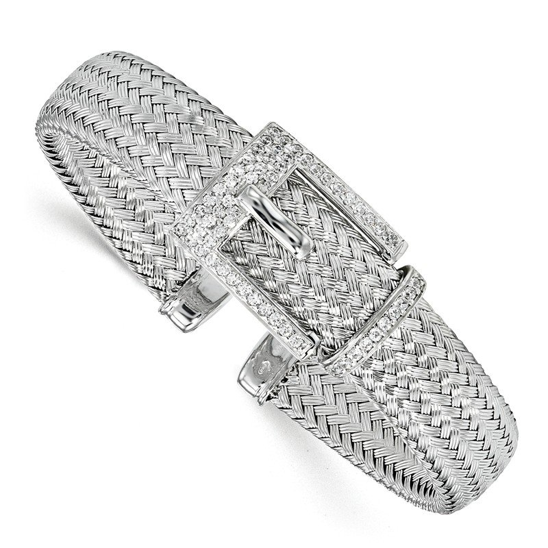 Leslie's Leslie's Sterling Silver CZ Polished Woven Cuff Bangle