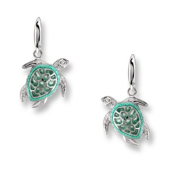 Green Turtle Wire Earrings.Sterling Silver-White Sapphires - Plique-a-Jour