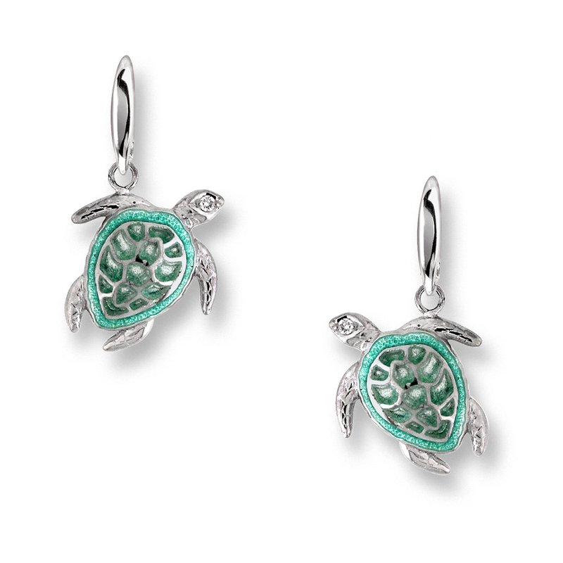 Nicole Barr Designs Green Turtle Wire Earrings.Sterling Silver-White Sapphires - Plique-a-Jour
