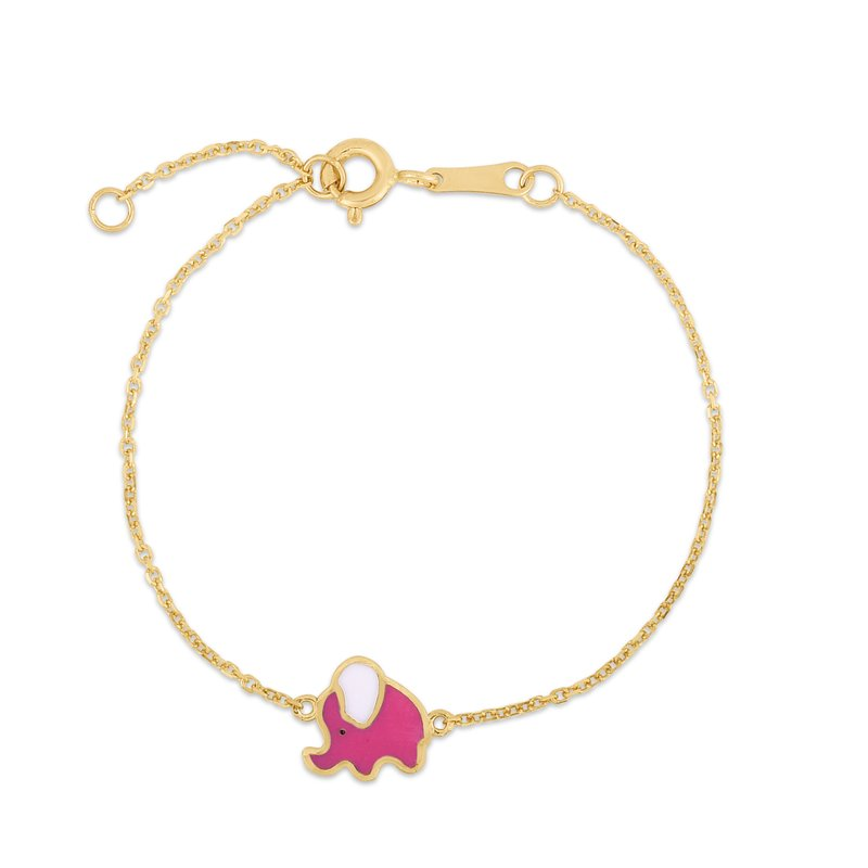 Royal Chain 14K Gold Enamel Elephant Bracelet