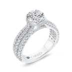 Carizza 14K White Gold Round Cut Diamond Engagement Ring (Semi-Mount)