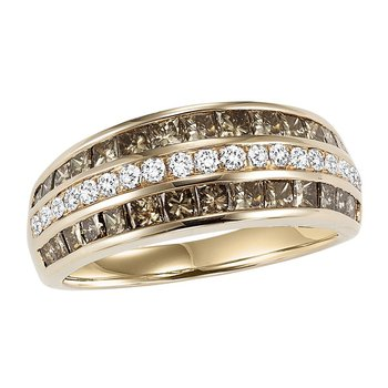 14K Browm & White Diamond Band 1 1/2 ctw