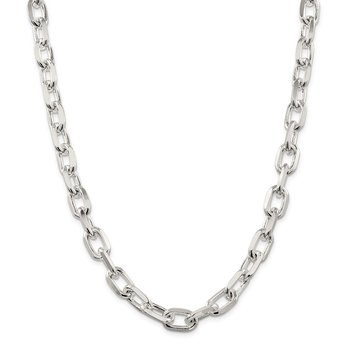 Sterling Silver 11.5mm Diamond-cut Long Link Cable Chain