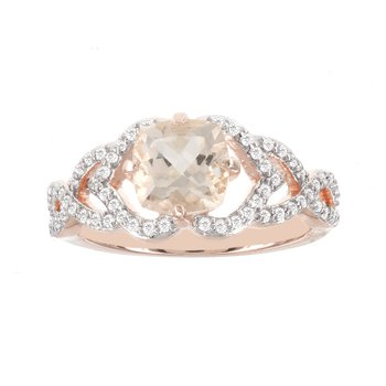 14k Rose Gold 1/3ct Diamond 1 1/4ct Morganite Ring