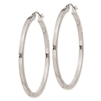 Sterling Silver Rhodium-plated Diamond-cut 2x40mm Square Tube Hoop Earrings