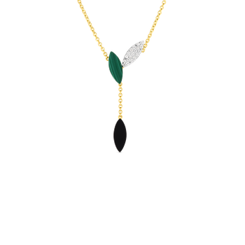 18KT GOLD PETAL PENDANT WITH DIAMONDS, MALACHITE AND BLACK JADE