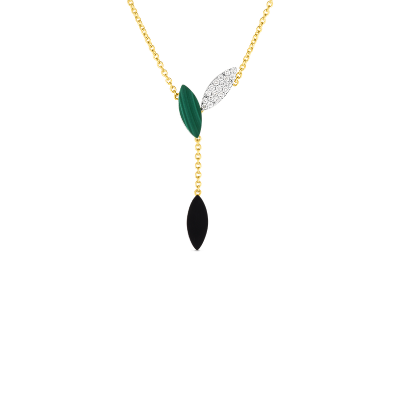 Roberto Coin 18Kt Gold Petal Pendant With Diamonds, Malachite And Black Jade