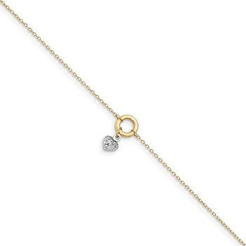 14K Gold Two-tone Circle/Diamond Cut Puff Heart 9in Plus 1in Ext Anklet