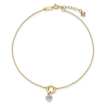 14K Two-tone Circle with Diamond Cut Puff Heart 9in Plus 1in ext Anklet