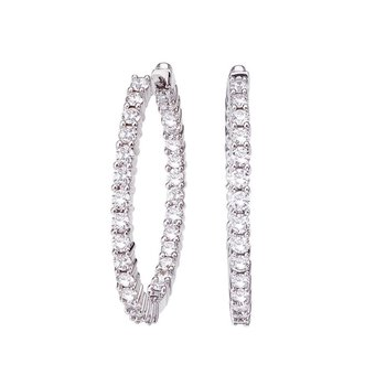 18Kt Gold Small Inside Outside Diamond Hoop Earrings