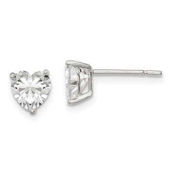 Sterling Silver 6mm Heart 3 Prong Basket Set CZ Stud Earrings