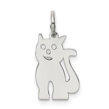 Sterling Silver Rhodium-plated Cat Polished Charm