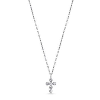 Diamond Cross Necklace in 14k White Gold with 6 Diamonds weighing .18ct tw.