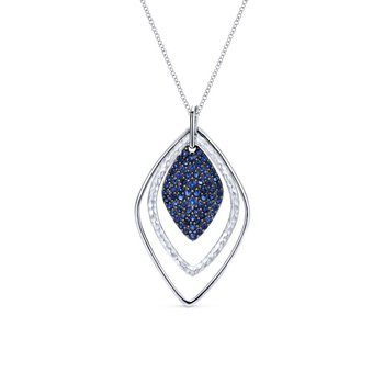 925 Silver And Pave Sapphire Trio Fashion Necklace