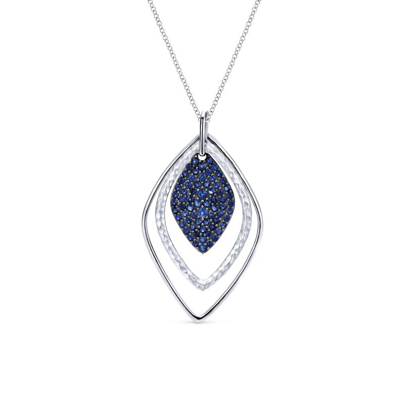 Gabriel Fashion 925 Sterling Silver Layered Sapphire Cluster Fashion Necklace