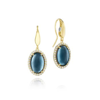 Pavé Gem Coin Drop Earrings featuring Sky Blue Topaz over Hematite