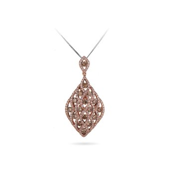 14K RD White and Champagne Diamonds Fashion Pendant in Prong Setting with White Diamonds Flowing in a Criss Cross Design over Champagne Diamonds.