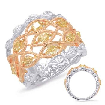 Rose & Yellow & White Gold Fashion Ring
