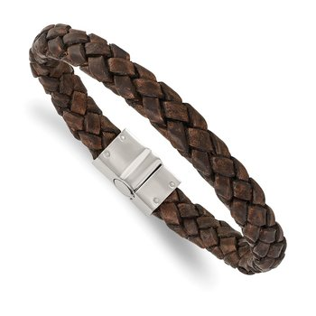 Stainless Steel Polished Brown Woven Leather 8.75in Bracelet