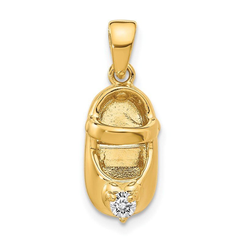 Quality Gold 14k 3-D April/Synthetic Stone Engraveable Baby Shoe Charm