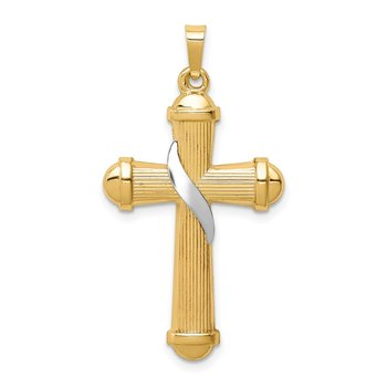 14k Two-tone Hollow Polished Methodist Cross