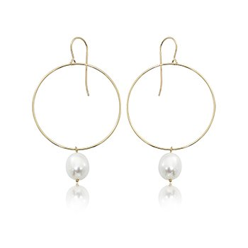 14K Yellow Gold Hoops with Pearl Drops