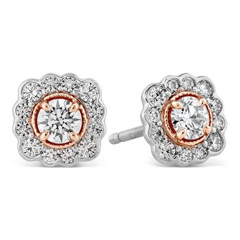 Liliana Flower Stud Earrings w/Platinum
