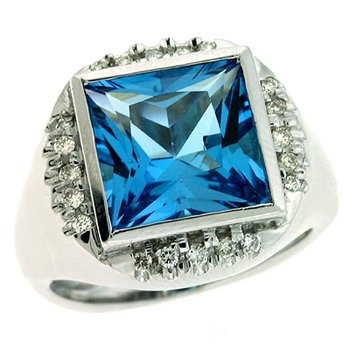 Bluetopaz. & Diamond Ring