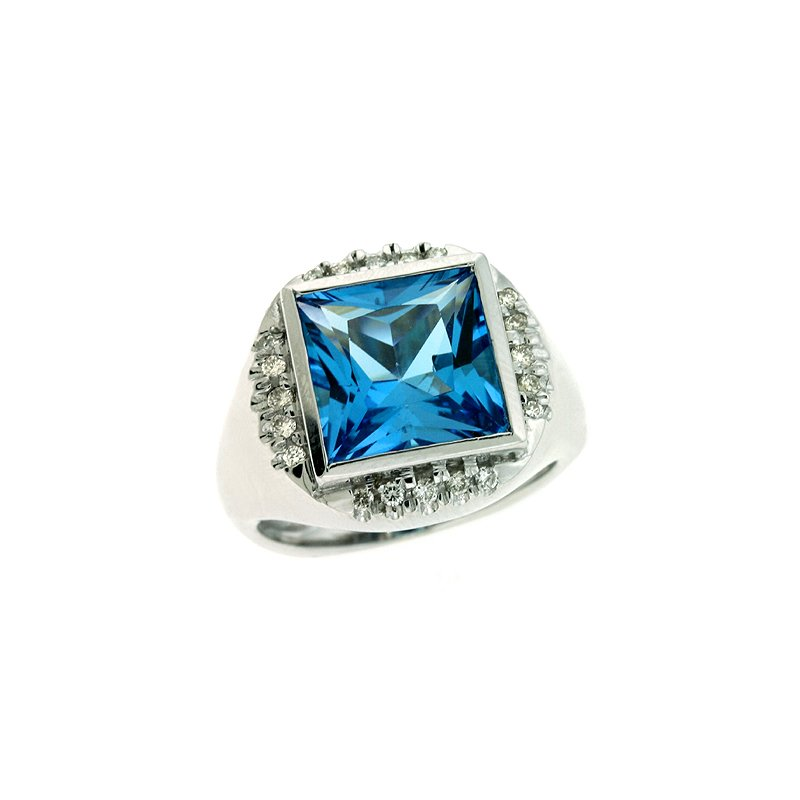 S. Kashi  & Sons Bluetopaz. & Diamond Ring