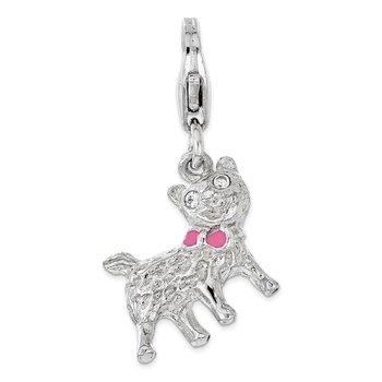 Sterling Silver Enameled w/ CZ 3D Cat Lobster Clasp Charm