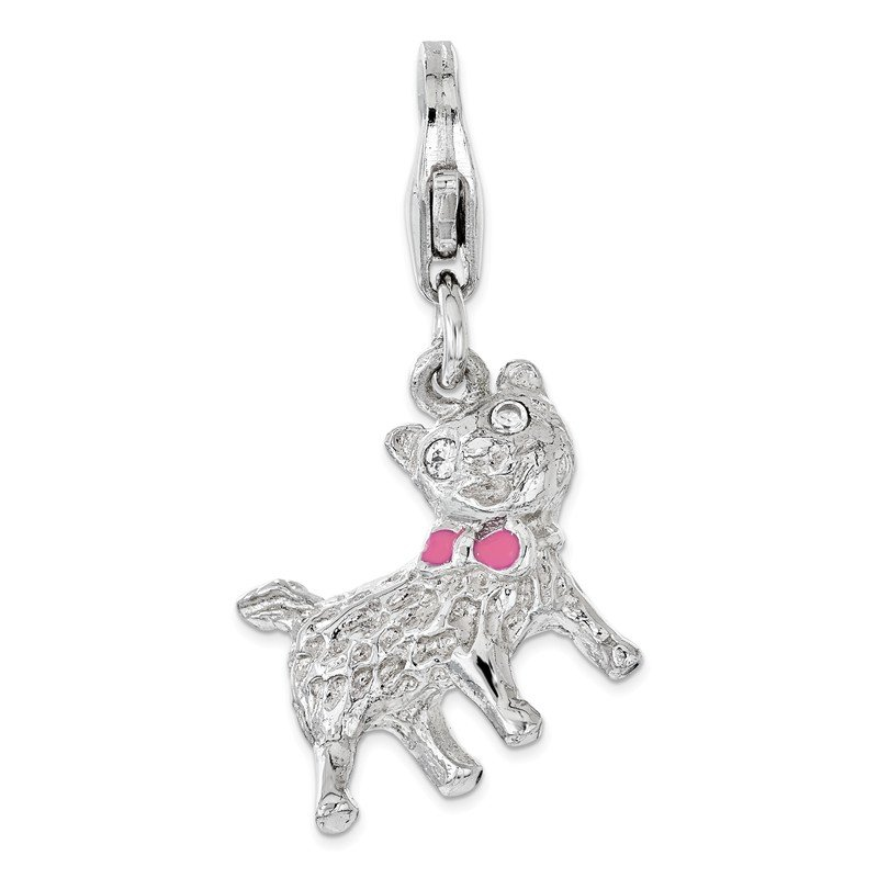 Quality Gold Sterling Silver Enameled w/ CZ 3D Cat Lobster Clasp Charm