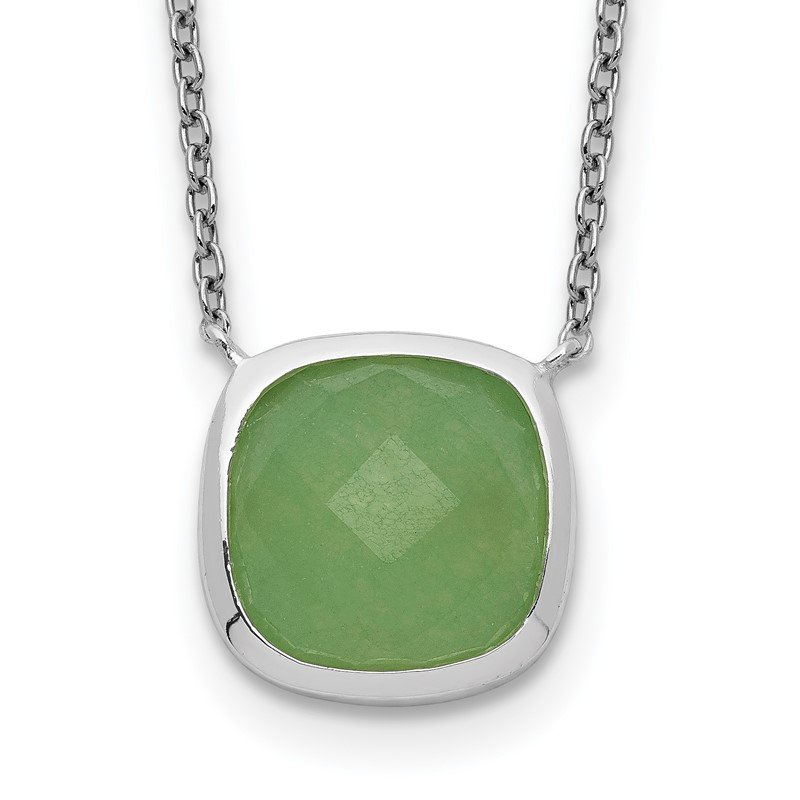 Quality Gold Sterling Silver Green Chalcedony Necklace