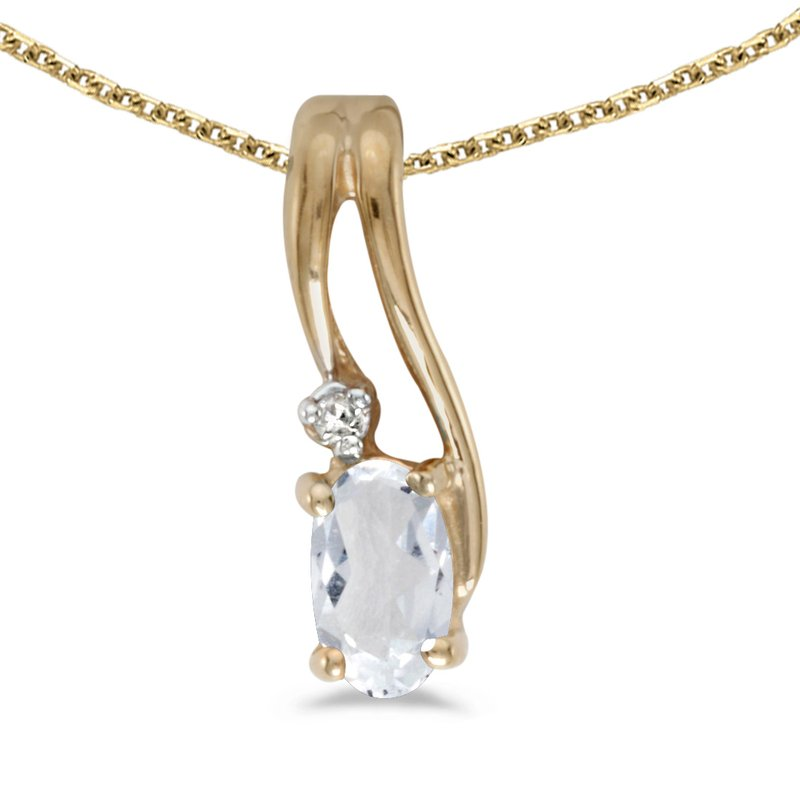 Color Merchants 14k Yellow Gold Oval White Topaz And Diamond Wave Pendant