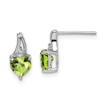 Sterling Silver Rhodium Plated Diamond Peridot Heart Post Earrings