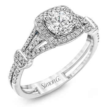 Round Halo White Gold Engagement Ring