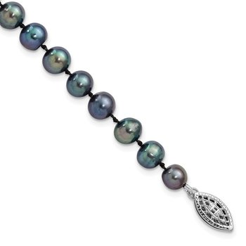 Sterling Silver Rhod-plated 6-7mm Black FWC Pearl Necklace