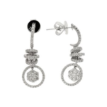 14k White Gold Fancy Corkscrew Diamond Earrings