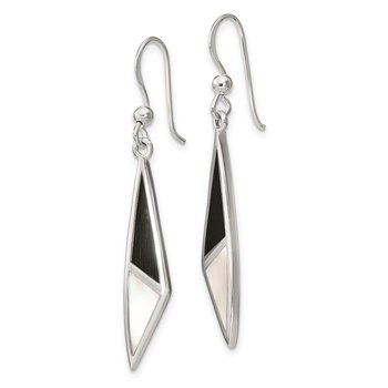 Sterling Silver Onyx and Mother of Pearl Earrings