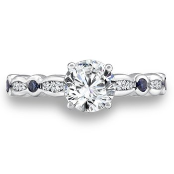 Diamond and Blue Sapphire Engagement Ring Mounting in 14K White Gold with Platinum Head (.14 ct. tw.)