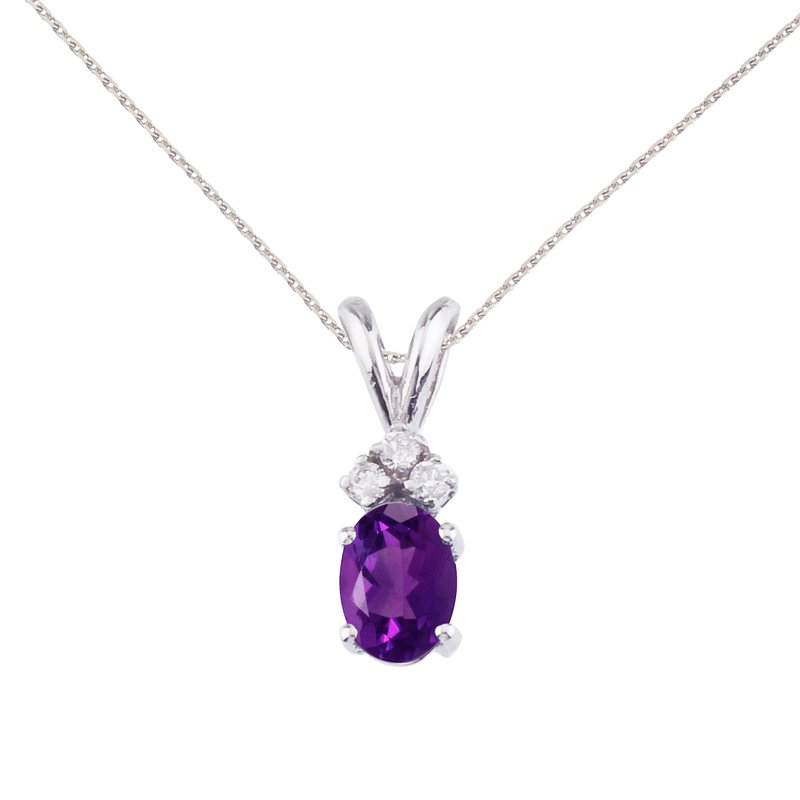 14K White Gold Oval Amethyst and Diamond