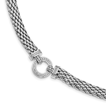 Sterling Silver Rhodium-plated Polished CZ Mesh 17.75in Necklace