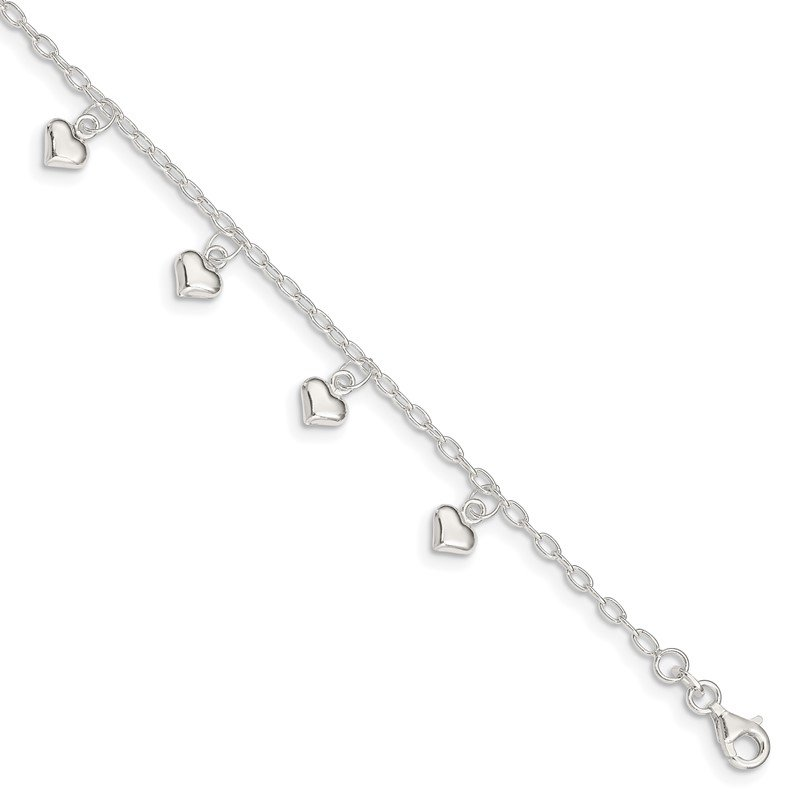 Quality Gold Sterling Silver Polished Puffed Heart Anklet